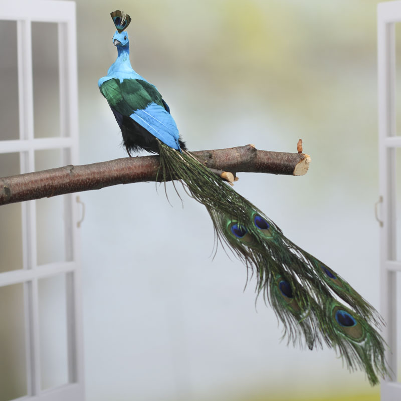 Closed tail feathered artificial peacock birds for Artificial birds for decoration