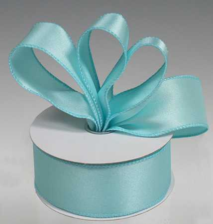 1 1 2 aqua satin wired ribbon ribbon and trims craft for Craft ribbons and trims