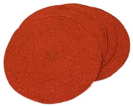 ... And Table Table Round Placemats Orange Of Runners Runners Woven Burnt 4  Placemats Orange ...