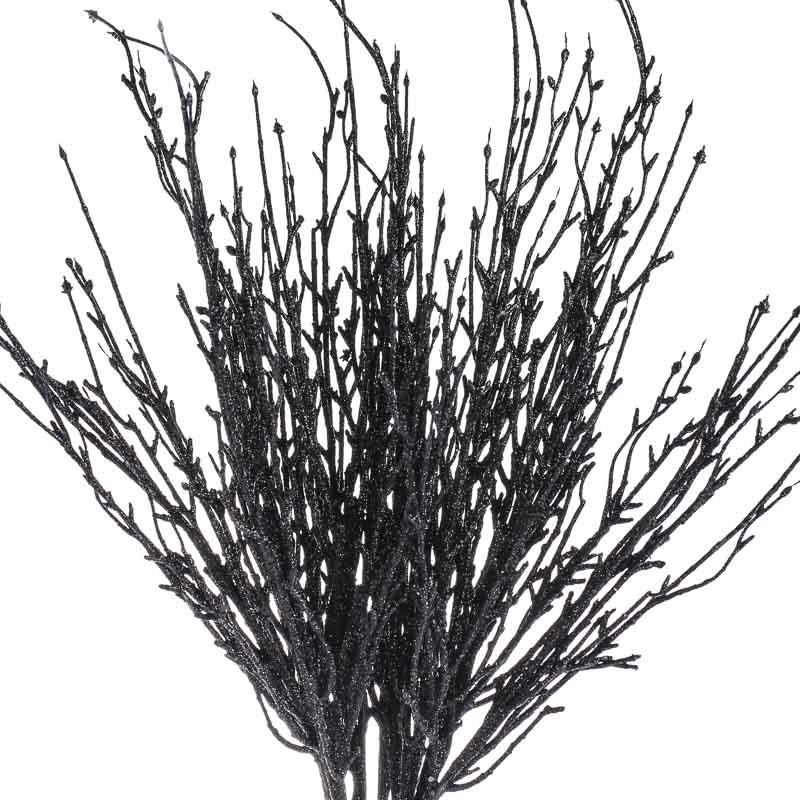 Black Glitter Twig Branches Picks And Stems Floral