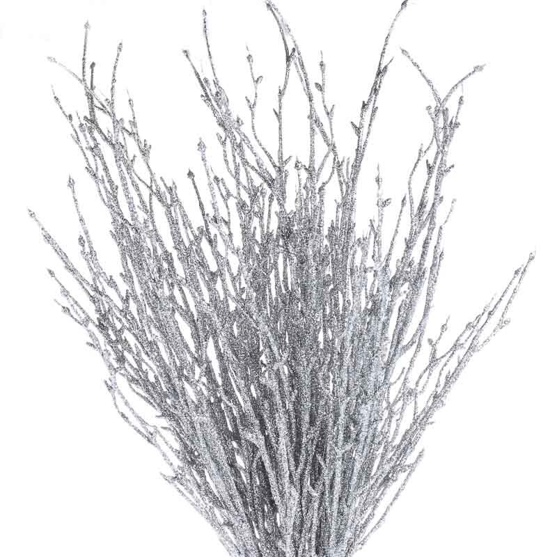 Silver Glitter Twig Branches Anniversary 25th And 50th