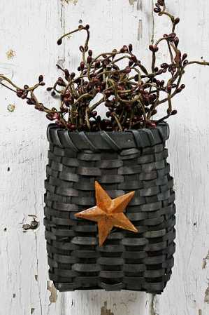 Primitive Country Black Basket With Star Baskets