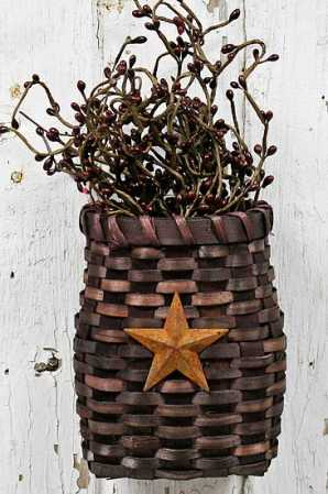 Primitive Country Burgundy Basket With Star Baskets