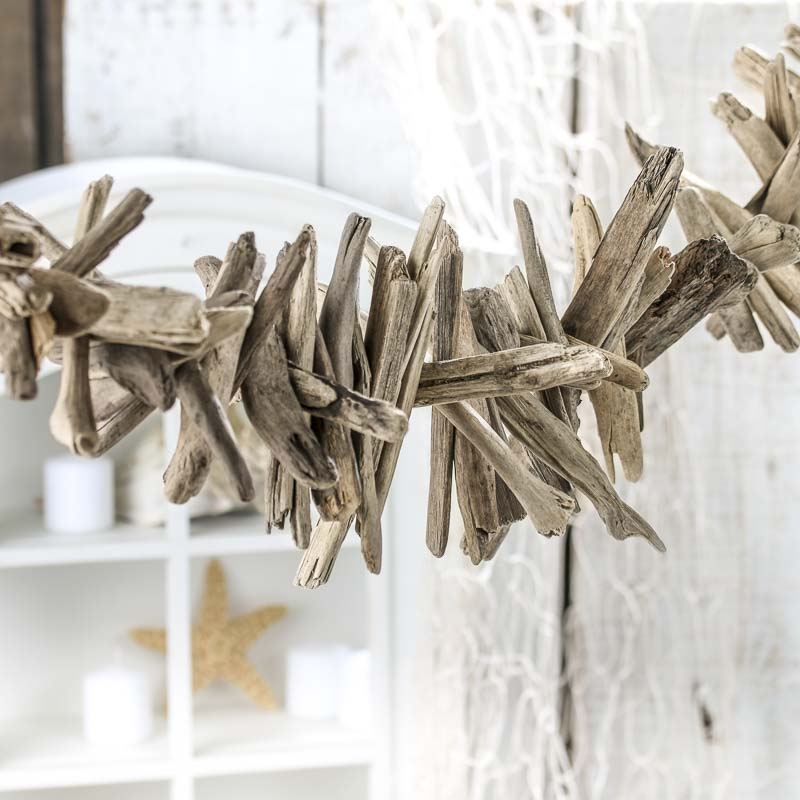 natural weathered driftwood garland 1 - beach wedding shower favors