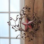 Burgundy Pip Berry and Red Barn Star Wreath