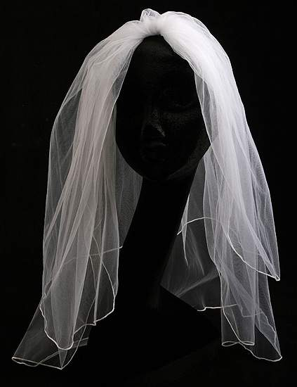 White Two Tier Bridal Veil with Attached Comb Wedding Veils Wedding Wear
