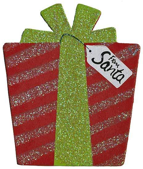 """Finished Wooden Present """"From Santa"""" Cutout - Holiday Wood ..."""