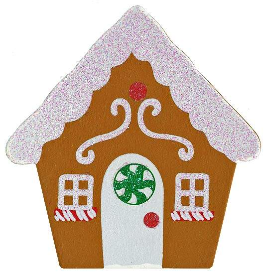 Finished wooden glittery gingerbread house cutout for Wooden christmas cutouts