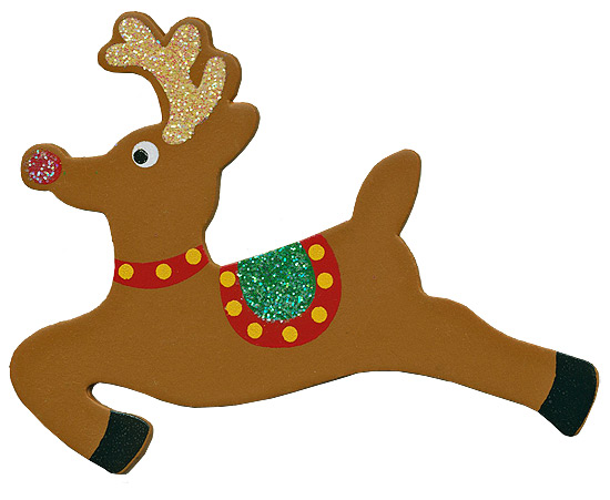 Finished wooden glittery reindeer cutout holiday wood for Wooden christmas cutouts
