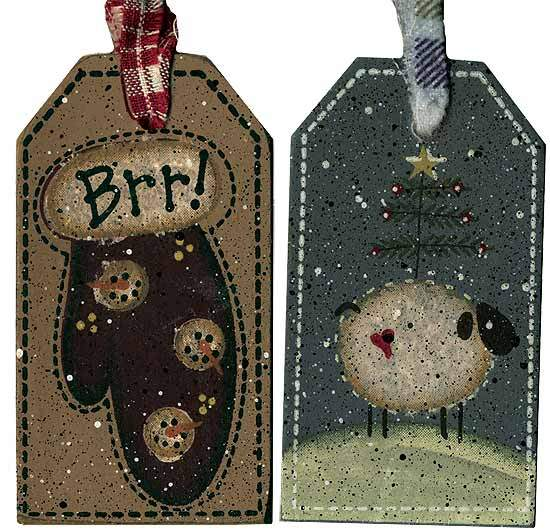 Primitive Winter Holiday Wooden Gift Tag Signs