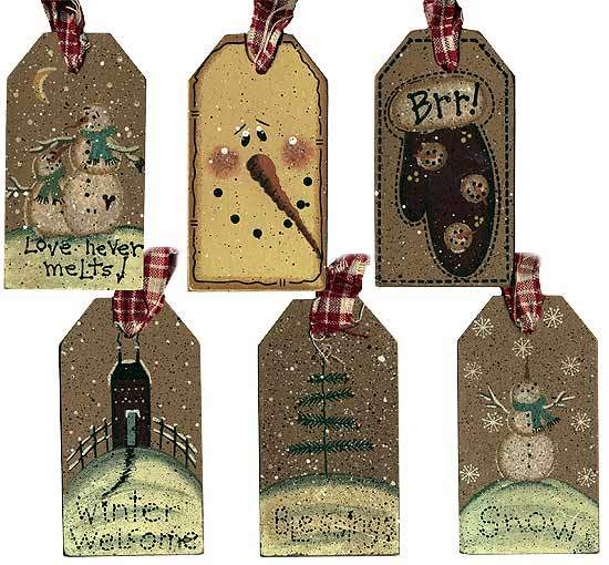Primitive winter holiday wooden gift tag signs amp ornaments home
