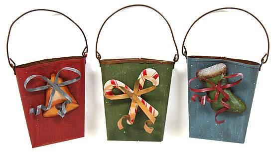 Set of primitive christmas mini rusty wall pockets