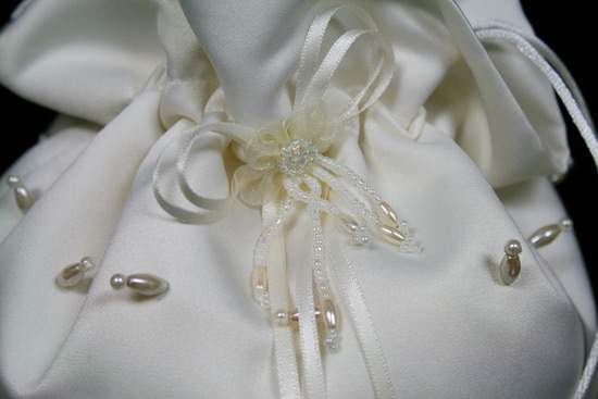 Ivory Satin Bridal Beaded Wedding Money Dance Bag Purse Money Bags and