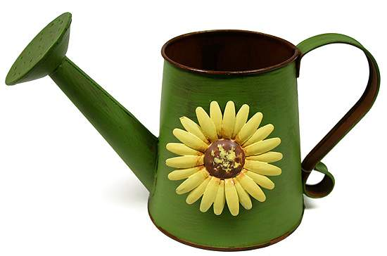 Primitive Tin Green Watering Can With Metal Sunflower
