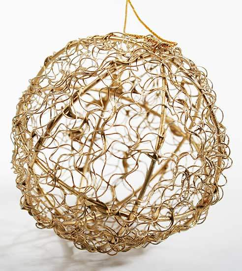 Round gold and glitter wire mesh ball ornament christmas