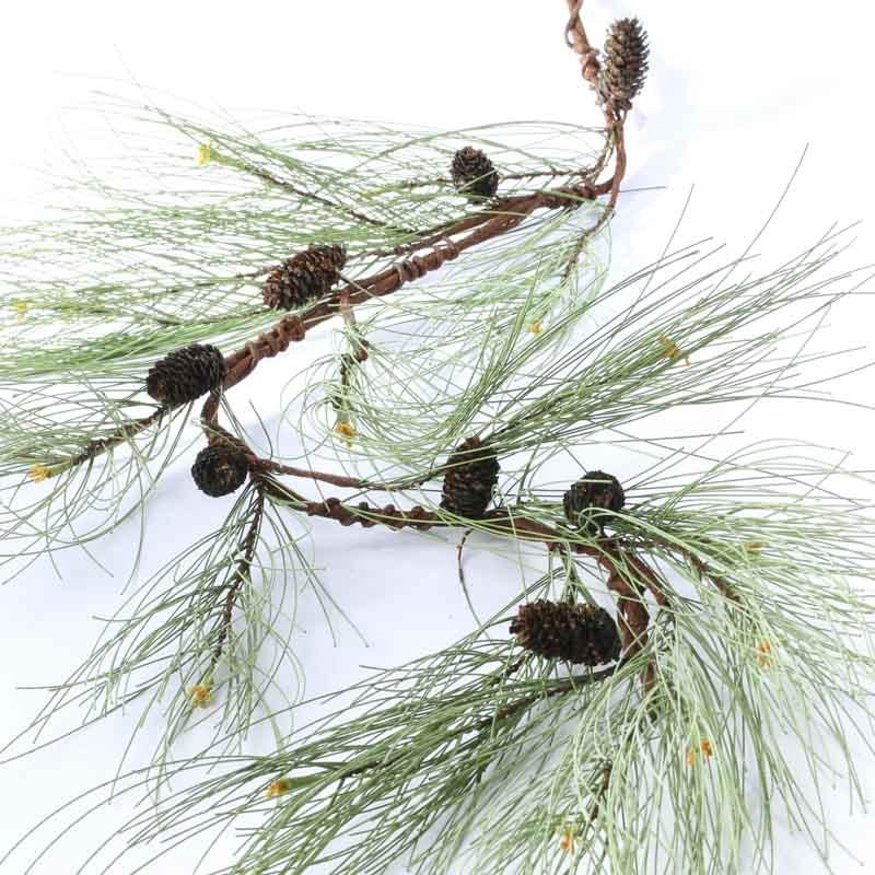 Artificial long needle pine and natural pine cone garland for Long pine cones