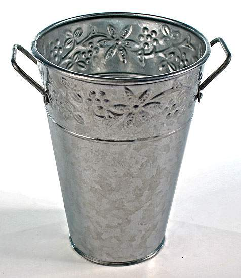 Galvanized Metal French Flower Bucket Embossed Floral Design