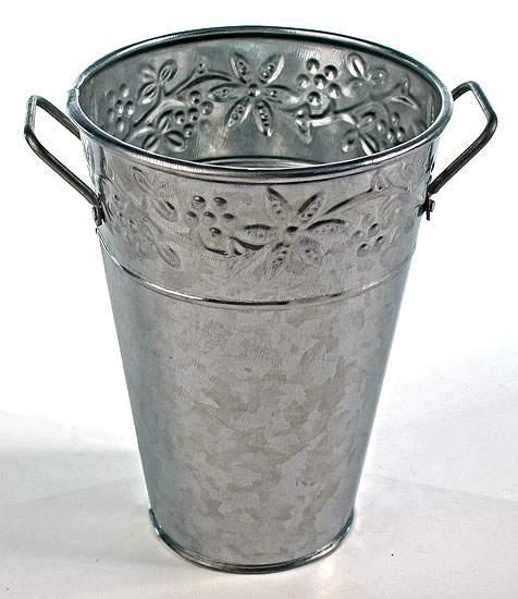 Galvanized metal french flower bucket embossed floral for Large galvanized buckets for flowers