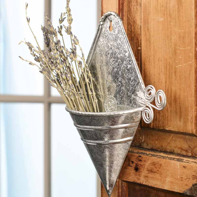 Decorative Wall Pockets Metal : Galvanized metal cone wall pocket decor home