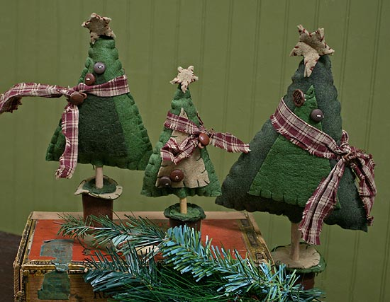Set Of 3 Primitive Felt Christmas Trees Christmas And