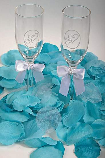 Teal silk rose petals confetti table scatters party supplies