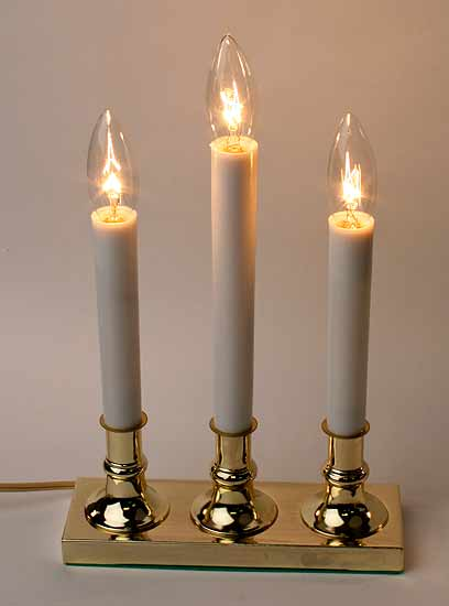 3 Light Electric Brass Candle Lamp Lighting Primitive Decor