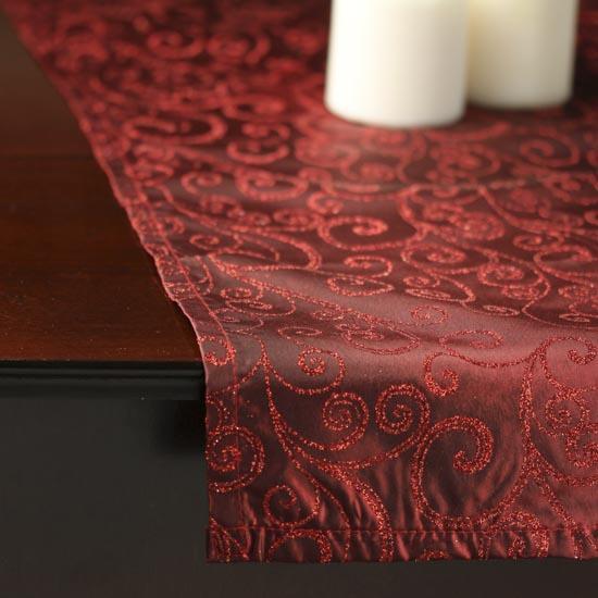 Burgundy glittered scroll satin table runner tableware