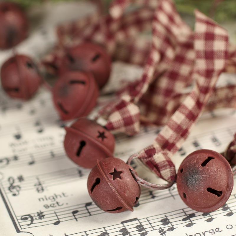 rustic burgundy sleigh bells garland christmas garlands