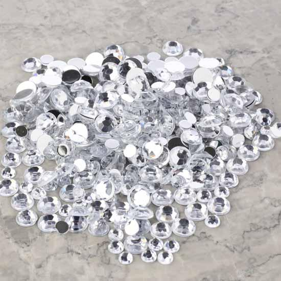 Assorted clear flat back rhinestones vase fillers for Rhinestone jewels for crafts