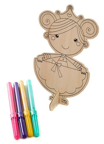 Ready to color wood princess craft kit kids craft kits for Wooden craft supplies online