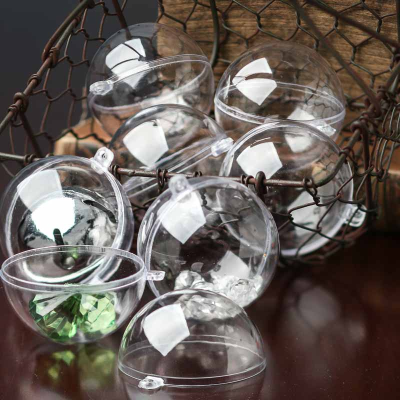 60mm clear acrylic fillable ball ornaments acrylic for Clear plastic balls for crafts