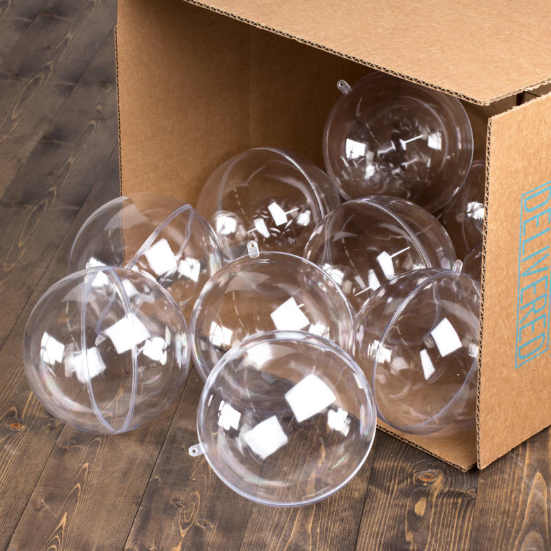Bulk 140mm clear acrylic fillable ornaments acrylic for Clear plastic balls for crafts