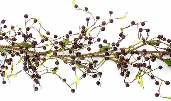 4 ft burgundy pyracanthus artificial cranberry garland for Artificial cranberries decoration