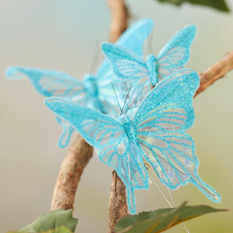 sheer blue iridescent glitter artificial butterflies birds