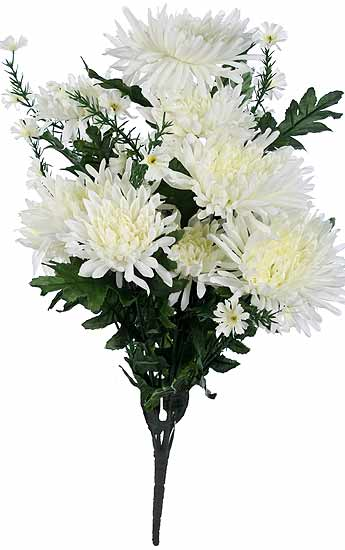 21 Quot Artificial White Spider Mum Floral Bush Bushes And