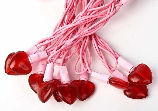 Heart String Lights Red : Red Heart Bulb and Pink Cord Valentine s Day String Lights - Lighting - Christmas and Winter ...