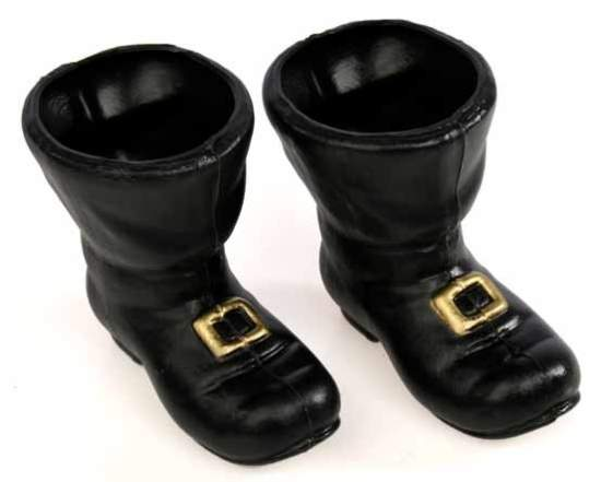 Black Plastic Santa Boots - Doll Accessories