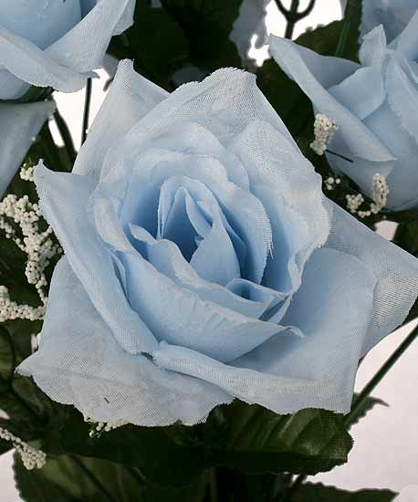 19 Quot Light Blue Open Rose Floral Bush It S A Boy Theme