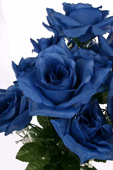 19 Quot Royal Blue Open Rose Silk Floral Bush Fourth Of July