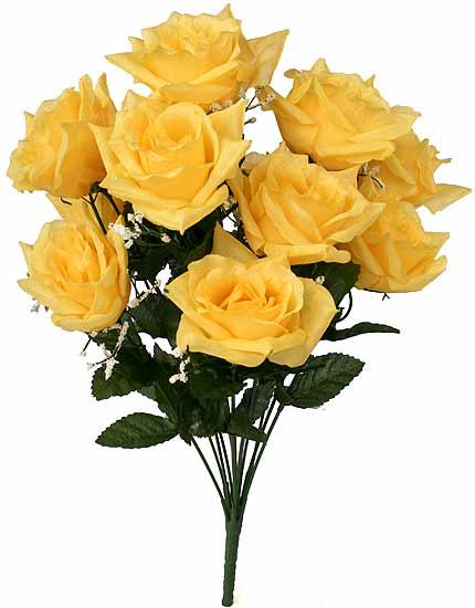 Silk 19 yellow open rose floral bush mightylinksfo