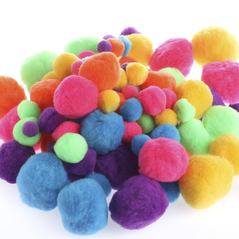 assorted bright multicolor pom poms pom poms basic