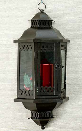 Wall Mount Metal Candle Lantern - Candles and Accessories - Primitive Decor