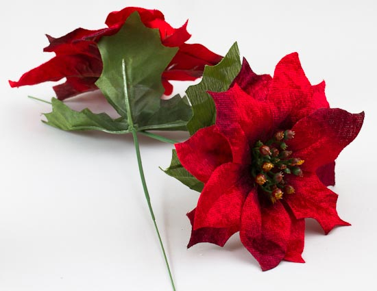 Red velvet artificial poinsettia floral pick holiday