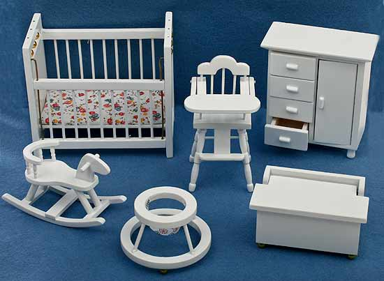Dollhouse Miniature White Wood Baby Nursery Furniture  pc set
