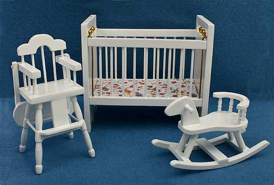 Dollhouse Miniature White Wood Baby Nursery Furniture 6 Pc