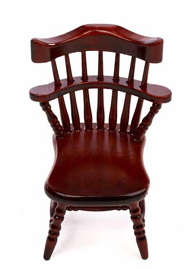 Wood Captain S Chair ~ Dollhouse miniature wood dining room captain s chair
