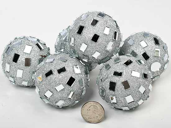 Silver mirrored disco balls vase fillers table