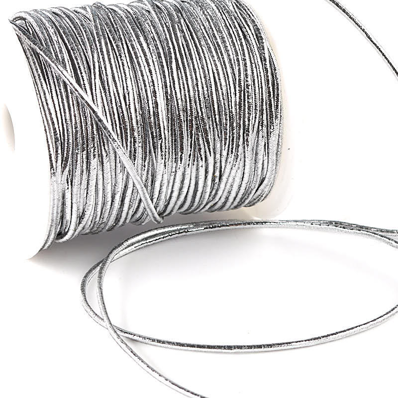 Silver Metallic Elastic Cord 50 Yards Jewelry Wire And Cords Jewelry Making Beading