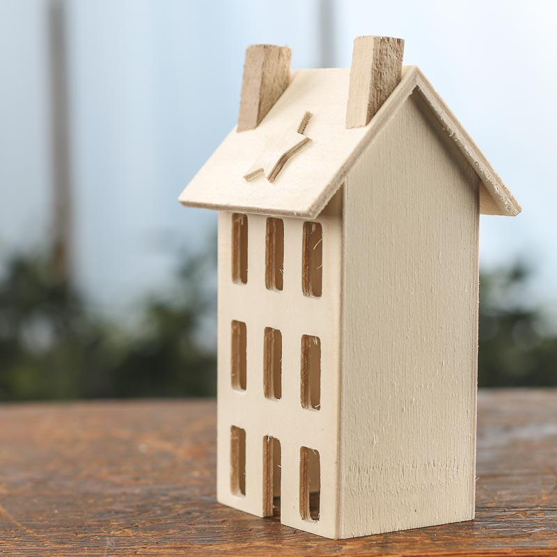 Decorative Accents For Home: Unfinished Wood Primitive Saltbox House