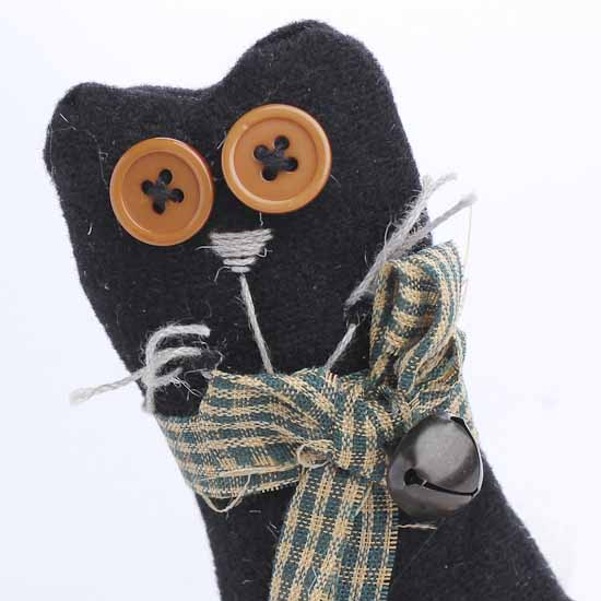 Folk Art Black Cat With Patchwork Star And Button Eyes